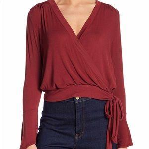 LUSH Ballet Tie Front Tee Shirt Ruby Wine Women